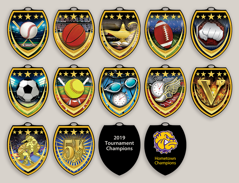 Full Color Shield Medals